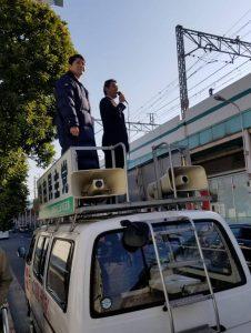 足立区議団による綾瀬駅での街頭演説
