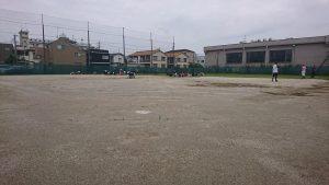 少年野球場のグランド整備