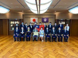 日台の議員連盟にて台湾屏東県政府より医療用品の寄贈品贈呈式